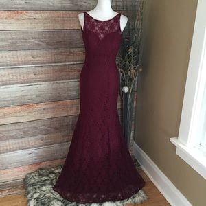 Bordeaux lace mermaid style bridesmaid prom dress